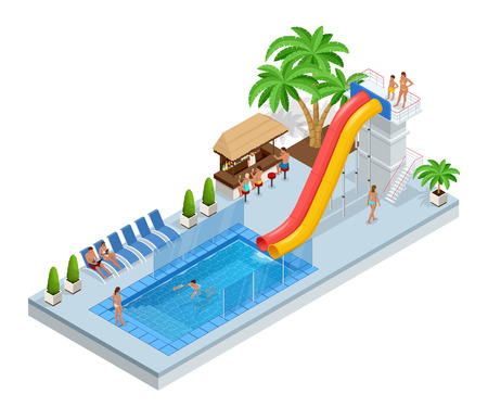 Isometric Aqua Park with water slides, water pool, people or visitors and palms. Vector illustration isolated on white background.