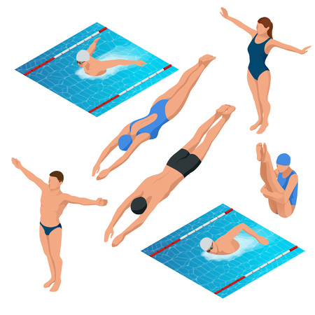 Isometric swimming pool, swimmers human characters vector illustration. Stock Illustratie