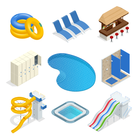 Isometric water park attractions vector icon set with inflatable swimming circles, sun beds, locker room, lockers, pool, bar, shower, slide. Aqua park flat isometric design elements.
