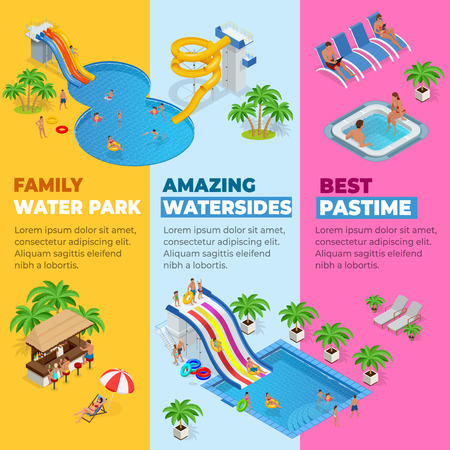 Aquapark vertical web banners with different water slides, family water park, hills tubes and pools isometric vector illustration. design for web, site, advertising, banner, poster, board and print 向量圖像