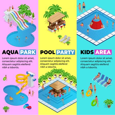 Aquapark vertical web banners with different water slides, family water park, hills tubes and pools isometric vector illustration. design for web, site, advertising, banner, poster, board and print 일러스트