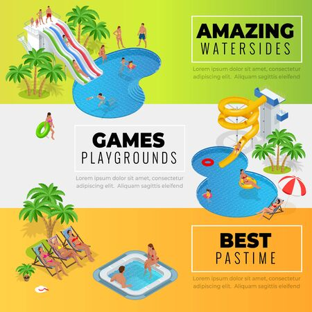 Aquapark horizontal web banners with different water slides, family water park, hills tubes and pools isometric vector illustration. design for web, site, advertising, banner, poster, board and print