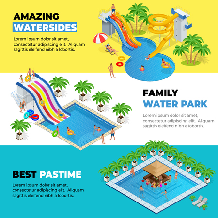 Aquapark horizontal web banners with different water slides, family water park, hills tubes and pools isometric vector illustration. design for web, site, advertising, banner, poster, board and print Vector Illustration
