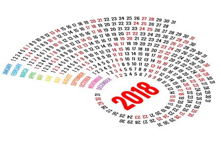 Vector Round Calendar 2018 on White Background. Portrait Orientation. Set of 12 Months. Planner for 2018 Year. Illustration