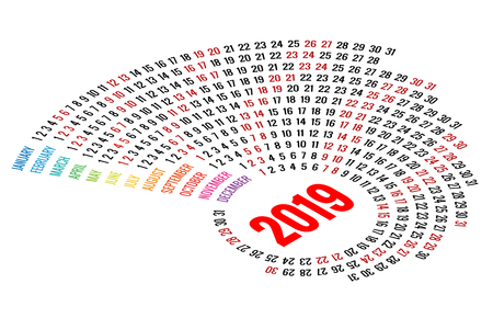 Vector Round Calendar 2019 on White Background. Portrait Orientation. Set of 12 Months. Planner for 2019 Year. Stock Illustratie