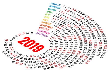 Vector Round Calendar 2019 on White Background. Portrait Orientation. Set of 12 Months. Planner for 2019 Year. Illustration