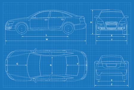Car schematic or car blueprint.