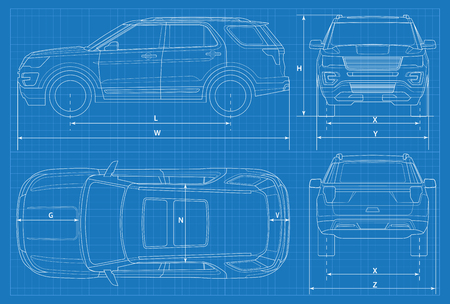 Off-road car schematic or SUV car blueprint vector illustration. off road vehicle in outline. Business vehicle template vector view front, rear, side, top. Vettoriali