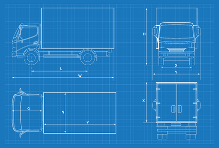 Delivery truck schematic or VAN car blueprint. Vector illustration. Truck car in outline. Business vehicle template vector. View front, rear, side, top