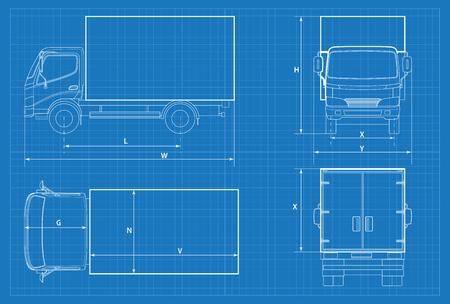 Schéma de camion de livraison ou plan de voiture VAN. Illustration vectorielle. Voiture de camion dans les grandes lignes. Vecteur de modèle de véhicule commercial. Vue avant, arrière, latérale, supérieure Vecteurs