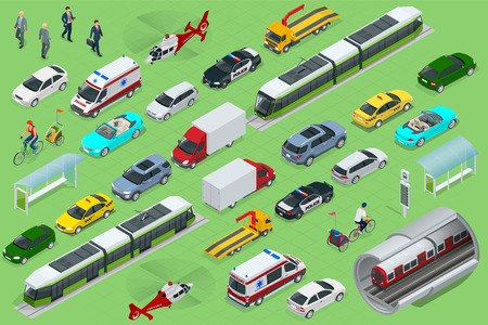 Isometric city transport with front and rear views. Vectores