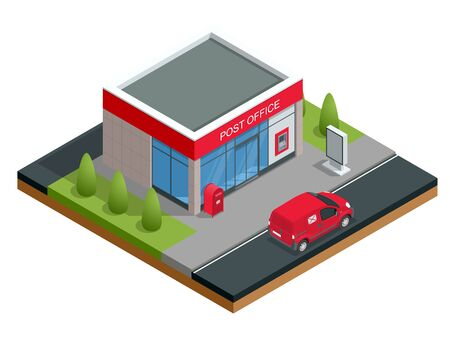 Isometric Building of post office and post car. Correspondence isolated vector illustration