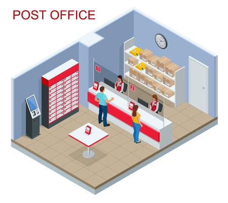 Koncepcja izometryczny urząd pocztowy. Młody mężczyzna i kobieta czekając na paczkę na poczcie.
