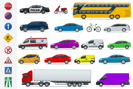 Flat high-quality city transport cars and road signs icon set.