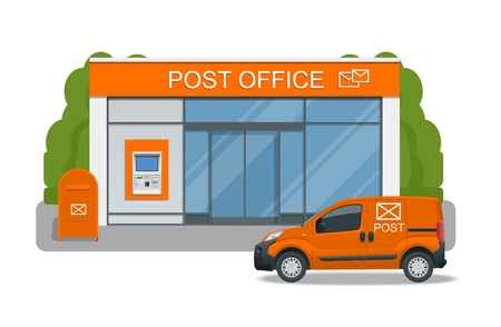 Post office service with postman riding car for delivery. Vector illustration isolated on background. Correspondence isolated vector illustration