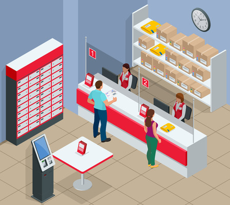 Isometric Post Office concept. Young man and woman waiting for a parcel in a post office. Correspondence isolated vector illustration Illustration