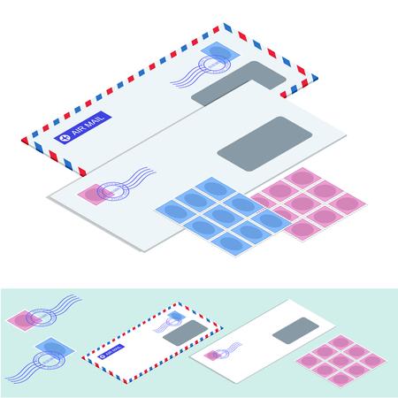 Isometric postal mail envelope, stickers, stamps, and postcard vintage style vector illustration Illustration