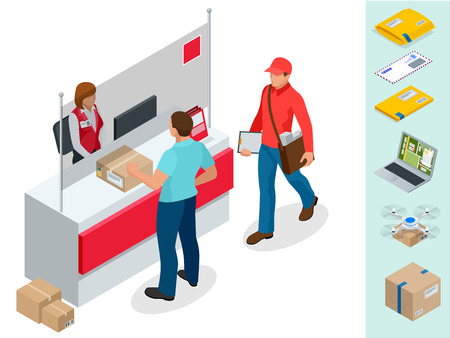 Isometric Post Office concept. Young man waiting for a parcel in a post office. Correspondence isolated vector illustration Vettoriali