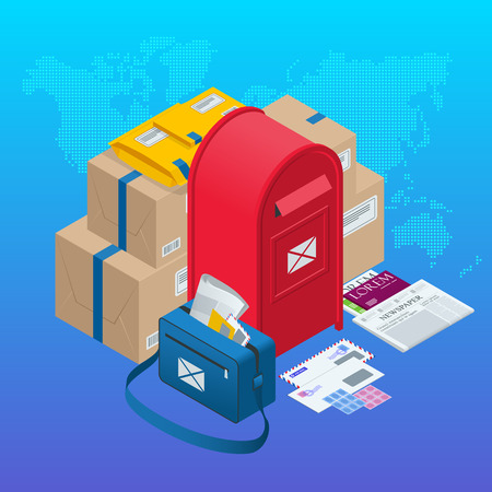 Isometric concept Post Office, mailbox, magazines and newspapers, letters and other attributes of postal service, point of correspondence delivery icons vector illustration
