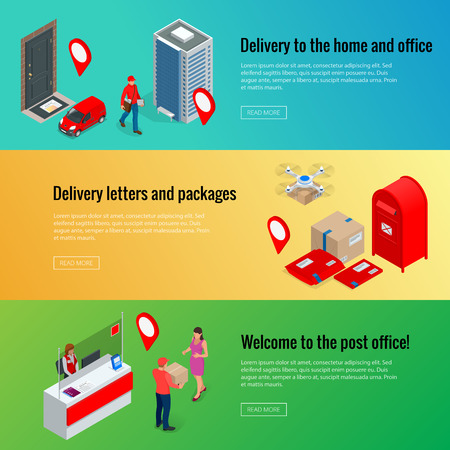 Post horizontal banners set with isometric Post Office Postman, envelope, mailbox and other attributes of postal service, point of correspondence delivery symbols flat isolated vector illustration
