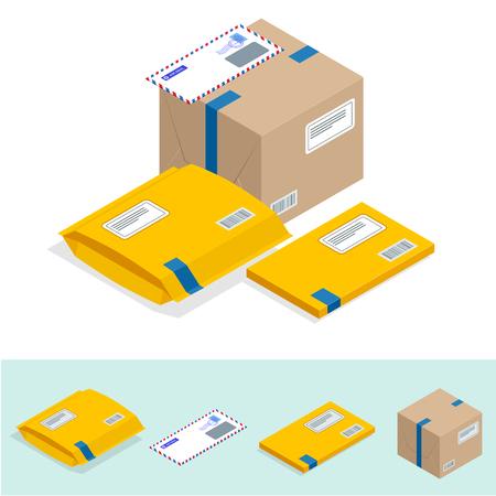 Insieme isometrico di ufficio postale, attributi del servizio postale, icone di consegna del punto di corrispondenza. Icona dei servizi postali