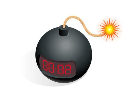 Icono de bomba isométrica. Ilustración vectorial TNT bomba de tiempo explosivo con reloj digital temporizador de cuenta regresiva aislado sobre fondo blanco.