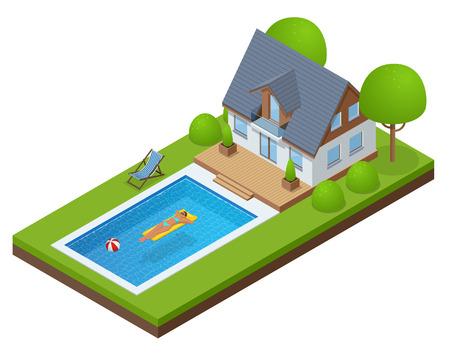Isometric Modern Villa outdoor with swimming pool. Enjoying suntan woman in bikini and man on the inflatable mattress in the swimming pool. Enjoying suntan. Summer Vacation Banque d'images - 96709688