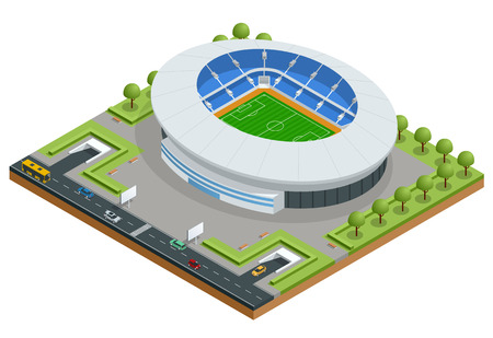 Isometric Sport stadium. Football Soccer Stadium Building vector illustration. Çizim