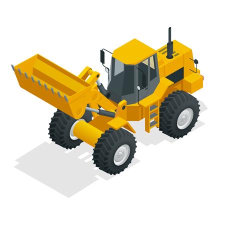 Isometric Vector illustration yellow bulldozer tractor, construction machine, bulldozer isolated on white.