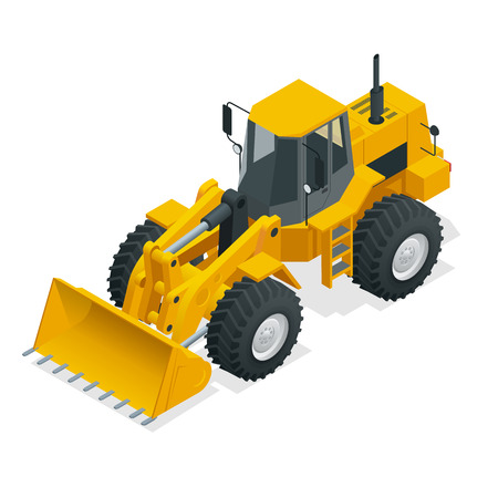 Isometric vector illustration yellow bulldozer tractor, construction machine, bulldozer isolated on white background. Yellow wheel loader, industrial vehicle. Pneumatic truck, manufacturing equipment.