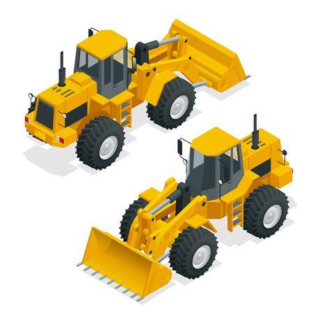 Isometric vector illustration yellow bulldozer tractor, construction machine, bulldozer isolated on white background. Yellow wheel loader, front loader. Loading shovel heavy equipment machine.