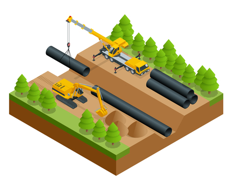 Isometric vector illustration of the construction process. Construction work on the pipe laying of the pipeline into the trench using a crane and bulldozer isolated on white background.