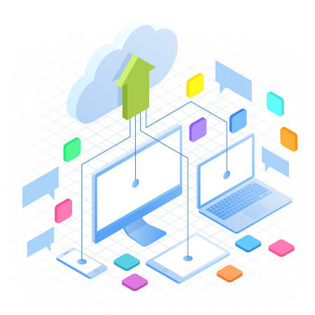 Isometric Cloud Computing Concept in outline isolated on white. Cloud computing services and technology, data storage. Technology Service line design web banner