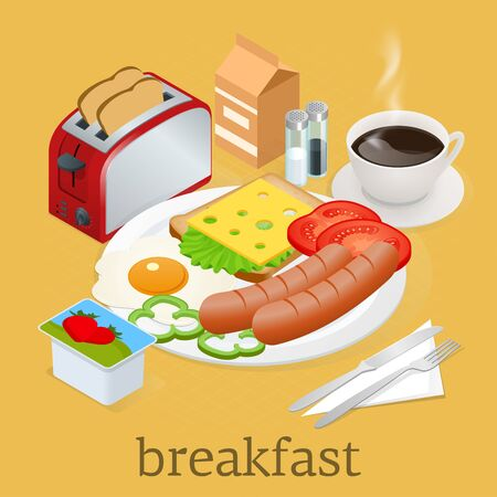 English breakfast with fried eggs, bacon, sausages, beans, toasts, coffee and fresh salad.
