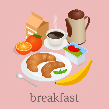 El desayuno se sirve con café, zumo de naranja, cruasanes, cereales y frutas. Ilustración vectorial Foto de archivo - 97187849