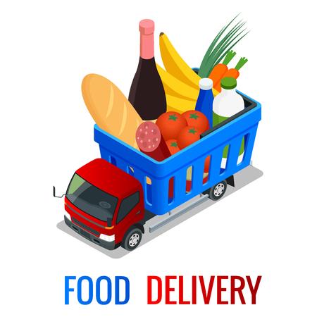Entrega de vegetales orgánicos frescos en caja de madera. Camión de reparto isométrico, concepto de entrega de alimentos. Comprar en linea. Envío gratis, entrega en 24 horas. Ilustración isométrica de vector plano