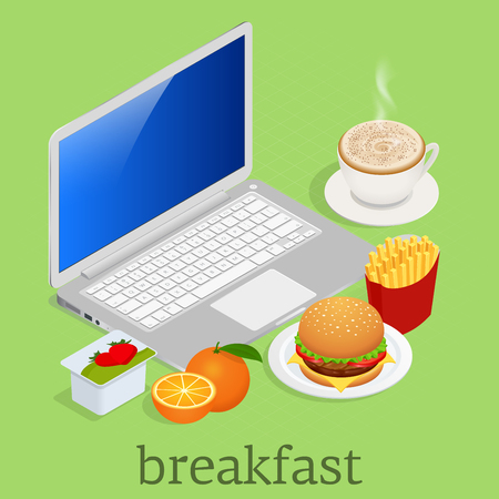 Isometric Having breakfast in front of computer on workspace. Classic Burger Potatoes French Fries in Red Package Box, Vector illustration Vectores