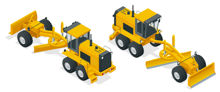 Isometric Graders used in the construction and maintenance of dirt roads and gravel roads. Construction machinery equipment positioned on a white background