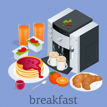 Isometric Breakfast and kitchen equipment concept. Breakfast served with coffee, orange juice, croissants, cereals and fruits. Balanced diet Vector illustration.