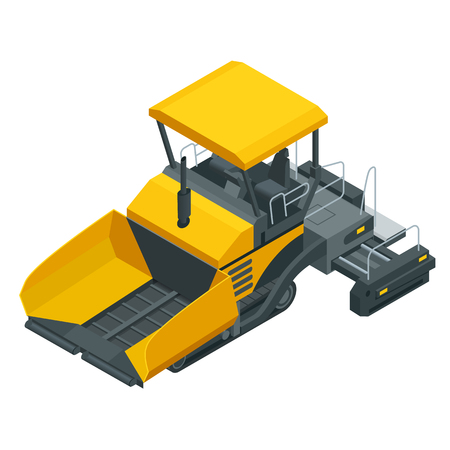 Isometric Asphalt paver, asphalt spreading machine under the white background. Vector illustration Ilustracja