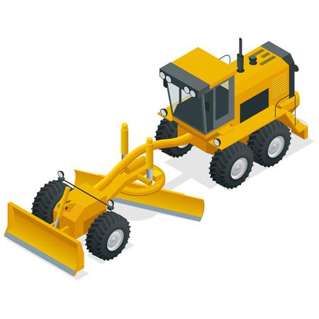 Niveleuses isométriques utilisées dans la construction et l'entretien des chemins de terre et des routes de gravier. Équipement de machines de construction positionné sur un fond blanc