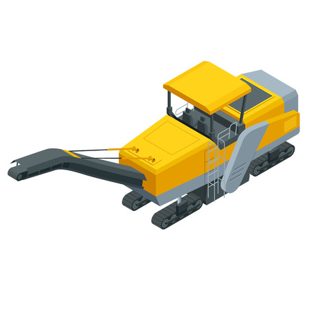 Isometric pavement milling, cold planing, asphalt milling, or profiling. Process of removing part of the surface of a paved area such as a road, bridge, or parking lot. Vectores