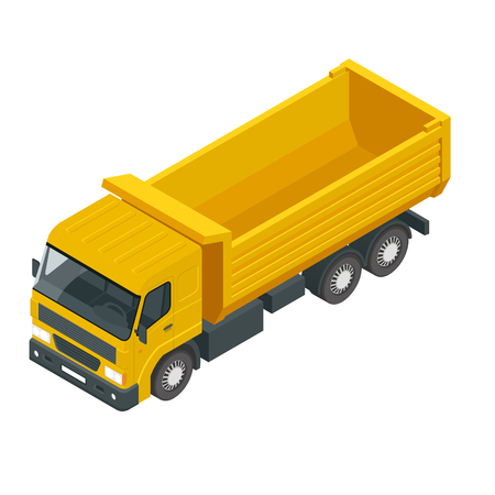 Isometric a dump truck isolated on white.