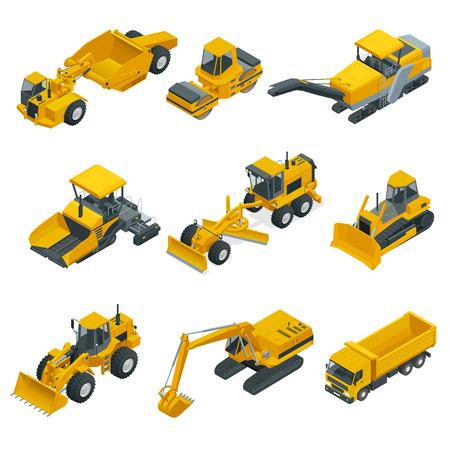 建設機械の大きなアイソメトリックセット。フォークリフト、クレーン、掘削機、トラクター、ブルドーザー、トラック。