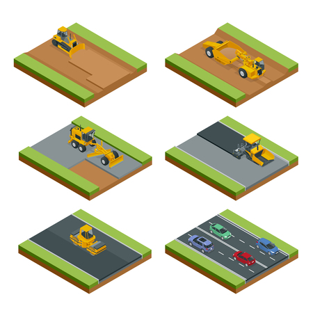Transport for laying and repair of asphalt. Isometric concept of Forklifts, Asphalt Paver, Wheel tractor-scraper, Excavator, Tractor, Bulldozer, Truck. Illustration