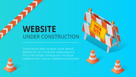 Sitio web bajo ilustración de vector de fondo de página de construcción. Ilustración de vector de estilo isométrico plano