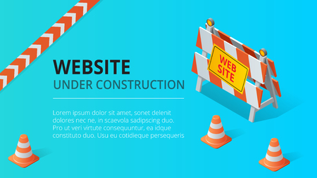 Website under construction page background vector illustration. Flat isometric style vector illustration. Stock Illustratie