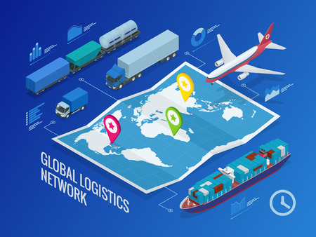 Global logistics network Иллюстрация