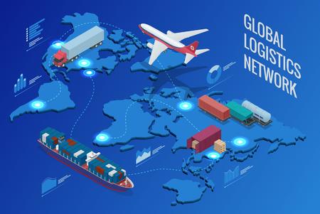 Global logistics network  イラスト・ベクター素材
