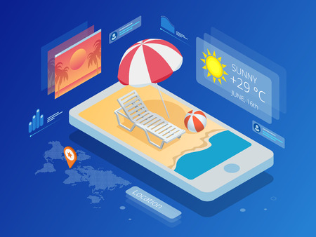 Isometric Current weather condition and meteorological forecast. Stock Illustratie